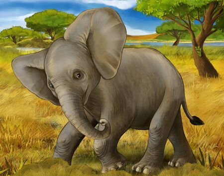 cartoon scene with elephant safari illustration for children Banque d'images - 124523440