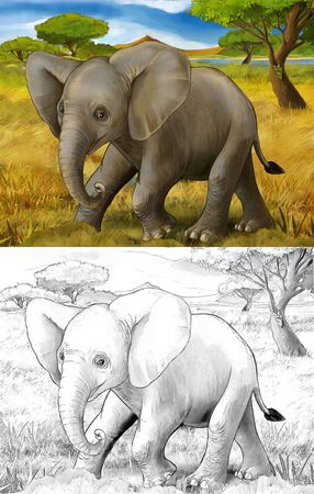 cartoon scene with elephant safari illustration for children Banque d'images - 124523503