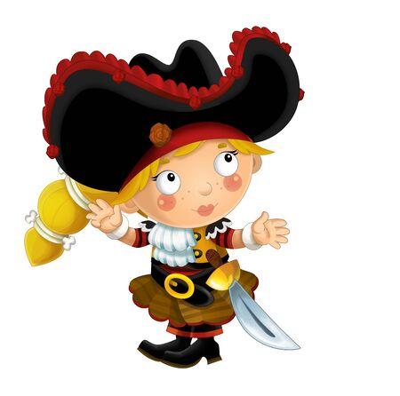glücklich lächelnde Cartoon mittelalterliche Piratenfrau stehend lächelnd mit Schwert auf weißem Hintergrund - Illustration für Kinder