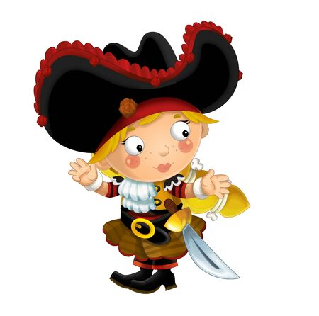 happy smiling cartoon medieval pirate woman standing smiling with sword on white background - illustration for children Banque d'images - 124523511
