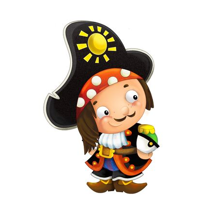 cartoon scene with pirate man captain on white background - illustration for children Banque d'images - 124523512