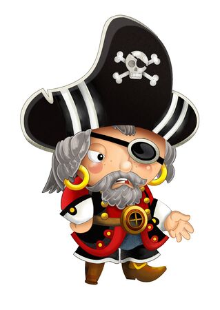 cartoon scene with pirate man captain with weapons on white background - illustration for children