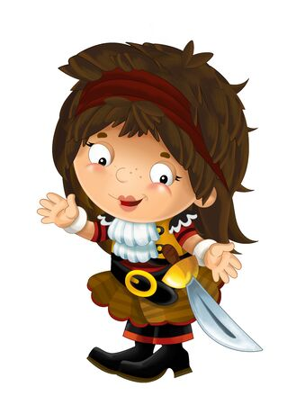 happy smiling cartoon medieval pirate woman standing smiling with sword on white background - illustration for children Stock Photo