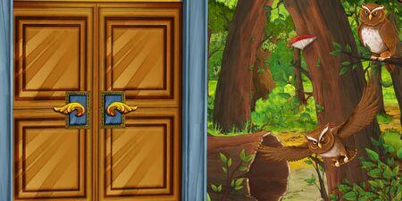 cartoon summer scene with deep forest mysterious door and bird owl - nobody on scene - illustration for children Foto de archivo - 126040128