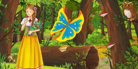 cartoon summer scene with deep forest gil princess and bird owl and butterfly - illustration for children Banco de Imagens