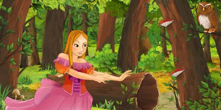 cartoon scene with happy young girl princess in the forest encountering pair of owls flying - illustration for children Stockfoto