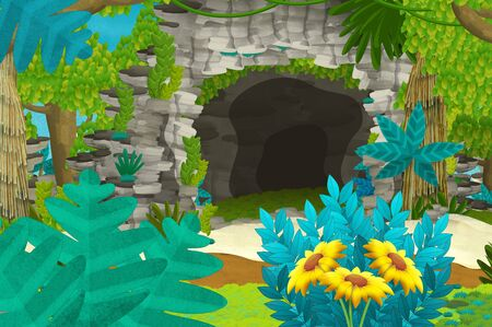 Cartoon background with cave in the jungle - illustration for children