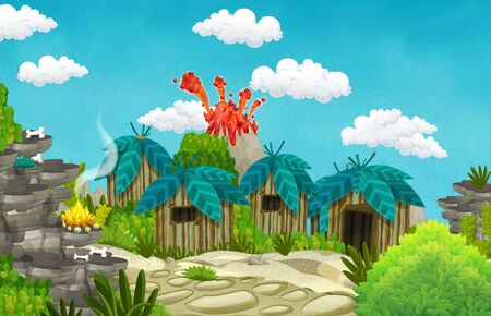 cartoon cavemen village scene with volcano in the background - illustration for children Banque d'images