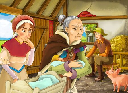 Cartoon scene with farmer rancher or disguised prince and woman or wife and older witch or sorceress in the barn pigsty illustration for children Stock Photo