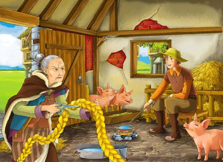 Cartoon scene with farmer rancher or disguised prince and older woman witch sorceress in the barn pigsty illustration for children
