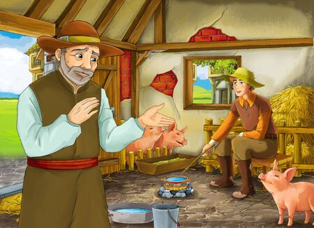 Cartoon scene with two farmers ranchers or disguised prince and older farmer in the barn pigsty illustration for children