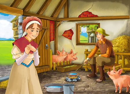 Cartoon scene with farmer rancher or disguised prince and woman or wife in the barn pigsty illustration for children
