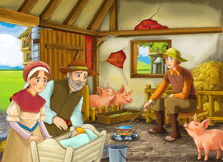 Cartoon scene with two farmers ranchers and woman wife or disguised prince and older farmer in the barn pigsty illustration for children Stock Photo