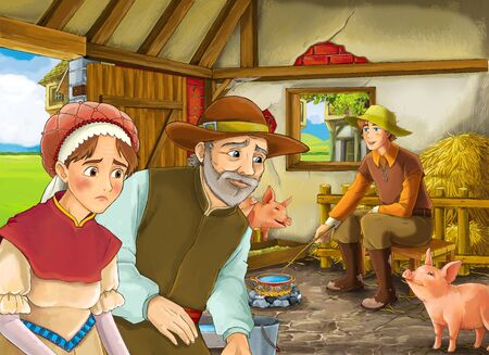 Cartoon scene with two farmers ranchers and woman wife or disguised prince and older farmer in the barn pigsty illustration for children Фото со стока - 130121673