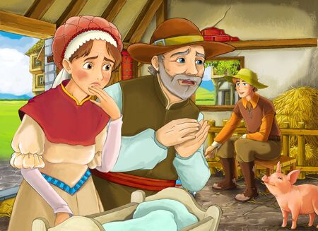 Cartoon scene with two farmers ranchers and woman wife or disguised prince and older farmer in the barn pigsty illustration for children Фото со стока