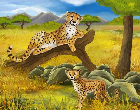 cartoon scene with cheetah resting on tree illustration for children