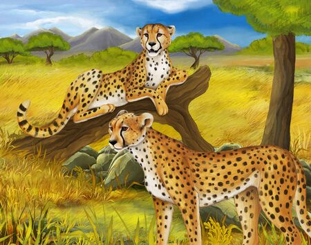 cartoon scene with cheetah resting on tree with family illustration for children Stock Photo