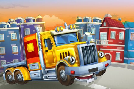 cartoon scene with big truck with truck trailer in the middle of a city - illustration for children Foto de archivo - 129202950