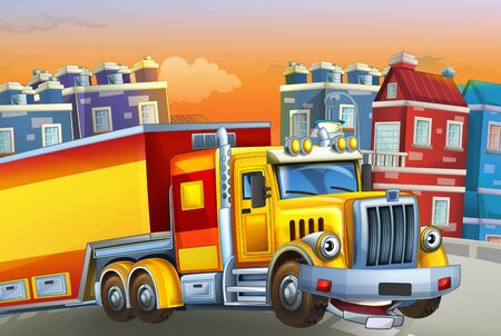 cartoon scene with big truck with truck trailer in the middle of a city - illustration for children Foto de archivo - 129202951