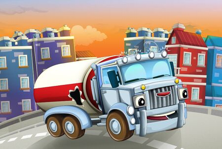 cartoon scene with big truck cistern in the middle of a city - illustration for children Foto de archivo - 129202953