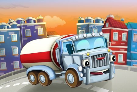 cartoon scene with big truck cistern in the middle of a city - illustration for children Foto de archivo - 129202955