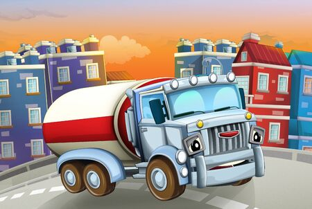 cartoon scene with big truck cistern in the middle of a city - illustration for children Foto de archivo - 129202961
