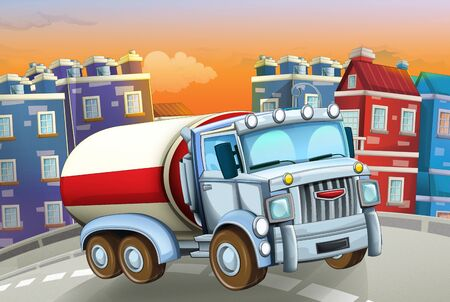 cartoon scene with big truck cistern in the middle of a city - illustration for children Foto de archivo - 129202957