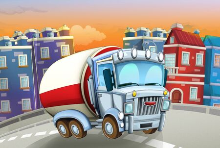 cartoon scene with big truck cistern in the middle of a city - illustration for children Foto de archivo - 129202954