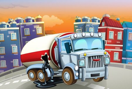 cartoon scene with big truck cistern in the middle of a city - illustration for children Foto de archivo - 129202958
