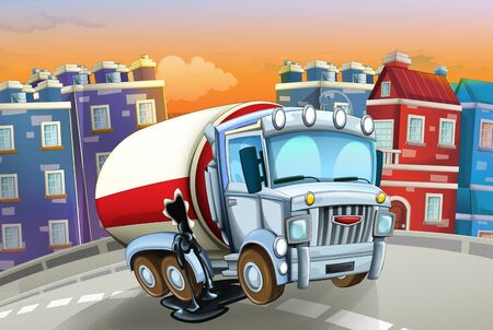cartoon scene with big truck cistern in the middle of a city - illustration for children Foto de archivo - 129202959