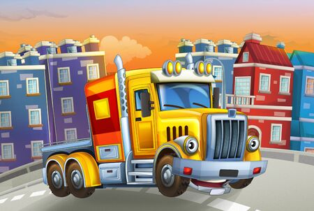 cartoon scene with big truck with truck trailer in the middle of a city - illustration for children Foto de archivo - 129202964