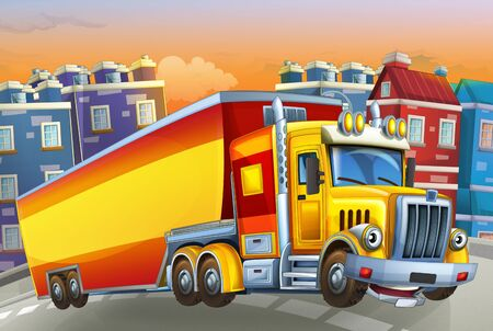 cartoon scene with big truck with truck trailer in the middle of a city - illustration for children Foto de archivo - 129202966
