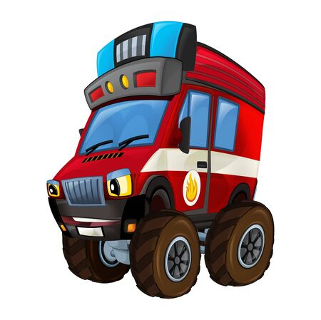 Cartoon firetruck monster truck on white background - illustration for the children Banque d'images - 128685871