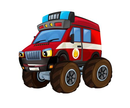Cartoon firetruck monster truck on white background - illustration for the children Banque d'images - 128685869
