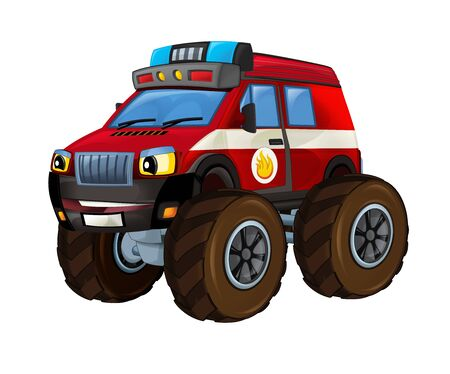 Cartoon firetruck monster truck on white background - illustration for the children Banque d'images - 128685870