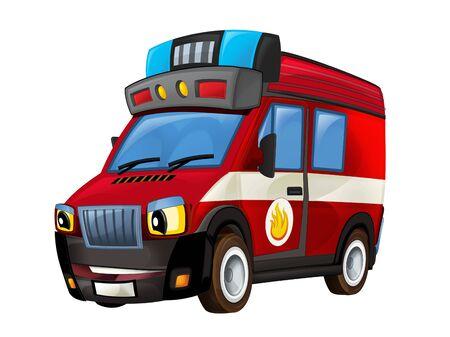 Cartoon firetruck on white background - illustration for the children Stock Photo