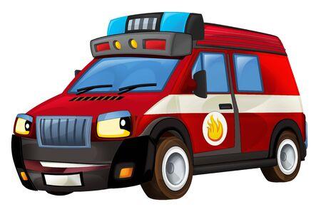 Cartoon firetruck on white background - illustration for the children