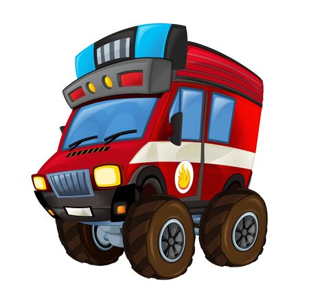 Cartoon firetruck monster truck on white background with fire sign on the side - illustration for the children Banque d'images - 128685876