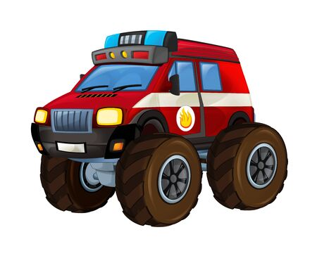 Cartoon firetruck monster truck on white background with fire sign on the side - illustration for the children 스톡 콘텐츠