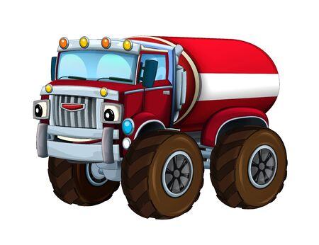 Cartoon firetruck monster truck on white background - illustration for the children 写真素材