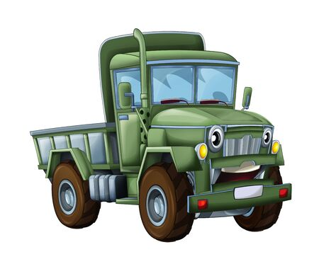 cartoon happy and funny military truck - isolated truck smiling vehicle illustration for children 写真素材