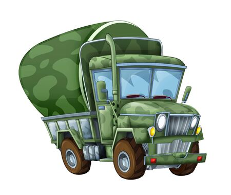 cartoon funny military truck cistern isolated on white background illustration for children 写真素材