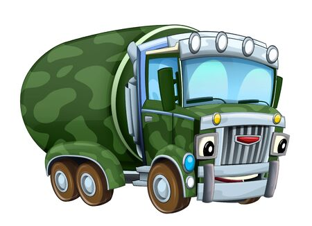 cartoon happy military truck cistern isolated on white background illustration for children