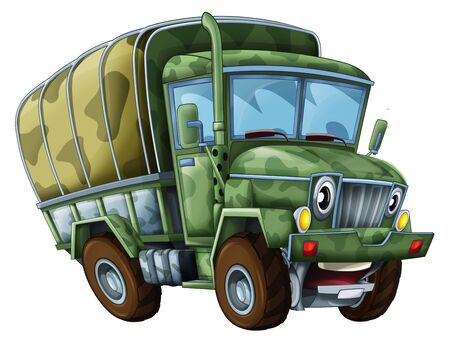 cartoon happy and funny military truck on white background - illustration for children 写真素材