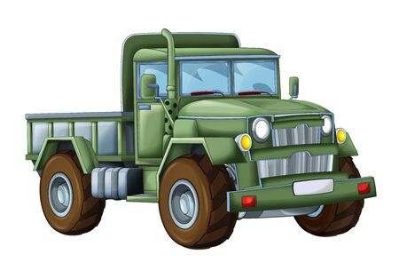 cartoon funny military truck on white background - illustration for children