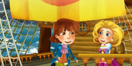 Cartoon scene on the ship - prince and princess with his guest - illustration for children 写真素材 - 128873705