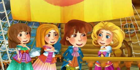 Cartoon scene on the ship - prince and princess with his guest - illustration for children 写真素材