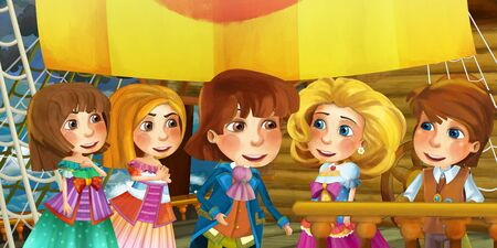 Cartoon scene on the ship - prince and princess with his guest - illustration for children 写真素材 - 128873707