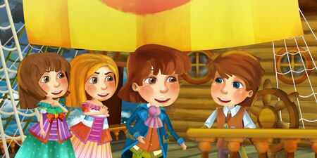 Cartoon scene on the ship - prince and princess with his guest - illustration for children 写真素材 - 128873710