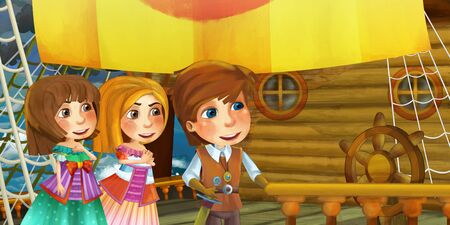 Cartoon scene on the ship - prince and princess with his guest - illustration for children 写真素材 - 128873709